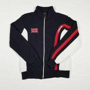 London England Flag Like New Zipper Track Jacket